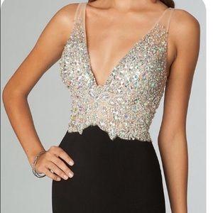 Jovani 86597 Crystal Encrusted Open Back Dress